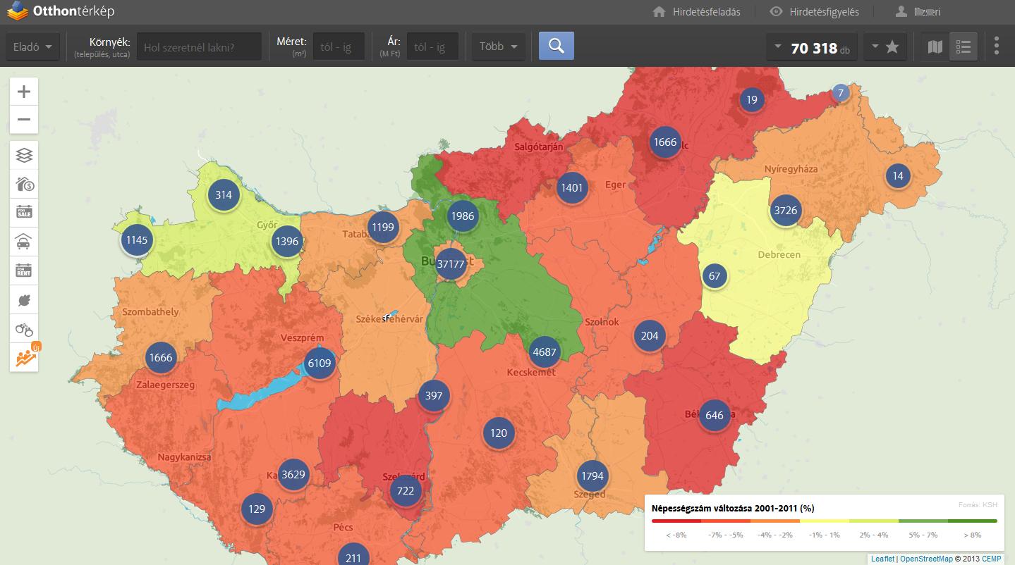 Így oszlik el mínusz ezer magyar az országban! - Otthontérkép